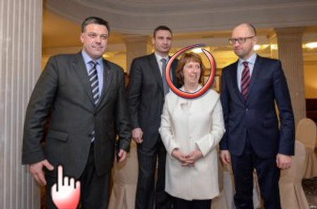 Catherine Ashton [EU] and  Oleh Tyahnybok (left) [Svoboda]