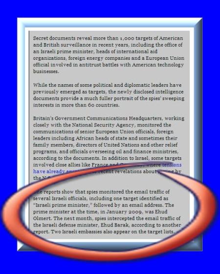 USA og UK spionage vedr. Israel