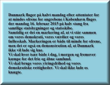 Danmark flager på halv stang mandag160215